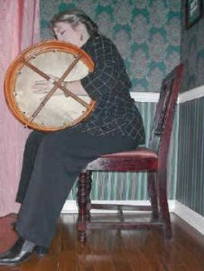 Holding the bodhran, view from the back of the drum